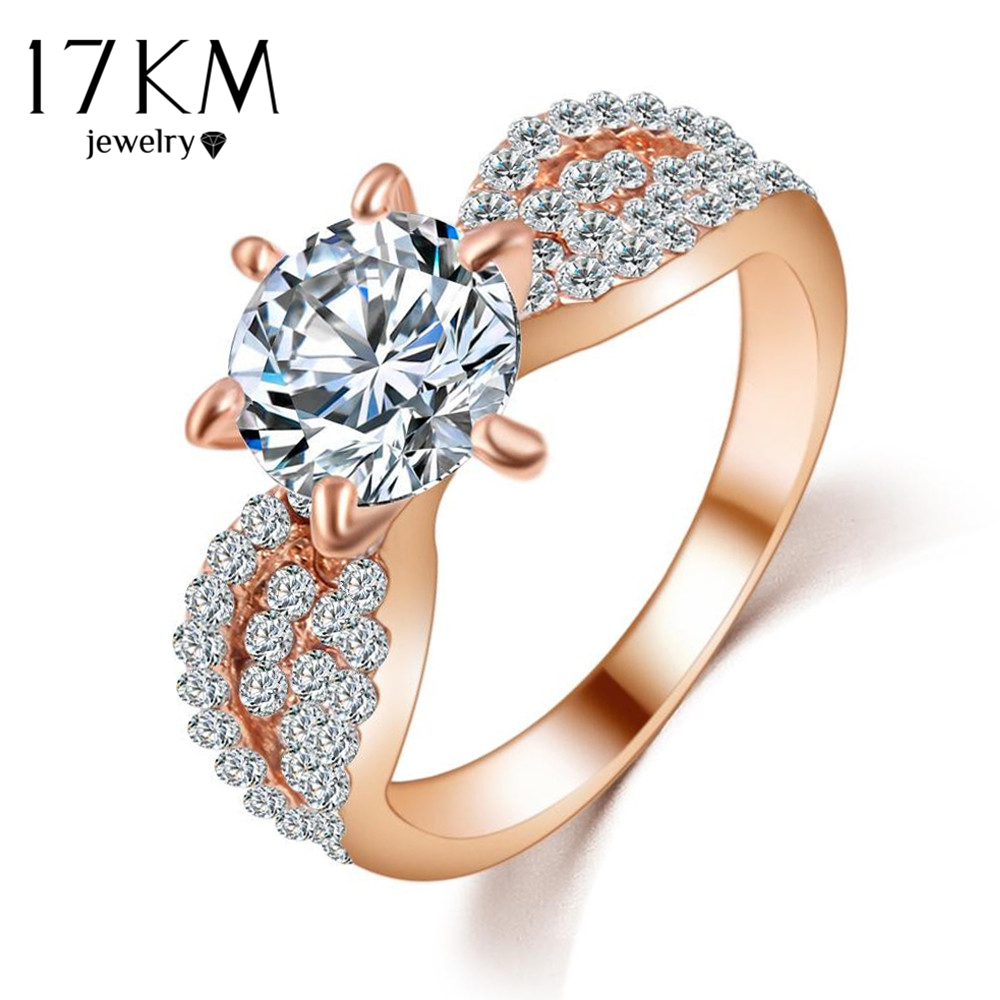 17KM Crystal-Rings Cubic-Zircon Rose-Gold-Color Women Fashion Full-Size Big Wedding
