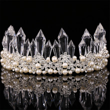 2016 Bridal Tiara Baroque Crystal Pillar Flower Big Crown Rhinestone Pearl Wedding Hair Jewelry Headdress Dress Accessories gift