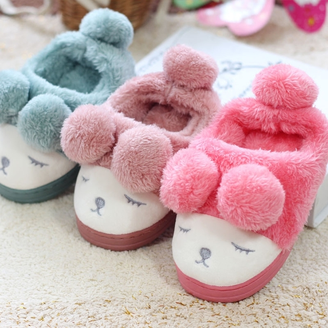 Kids Girls Cotton Slippers Winter Home Shoes Children Boys Cartoon Indoor Slippers Cute Thick Plush Shoes Velvet Surface