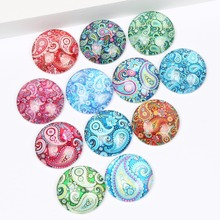 hot deal buy reidgaller paisley flower photo glass cabochon 10mm 12mm 14mm 18mm 20mm 25mm mixed flat circle cabochons for jewelry making