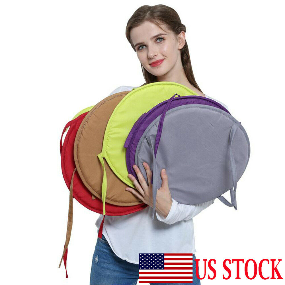 2019 New Portable Solid Bistro Round Chair Seat Pad Cushions Tie-on Kitchen Dining Living Room Office Removable