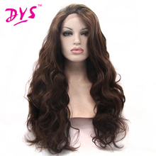 Deyngs Natural Brown Color Long Body Wave Synthetic Lace Front Wigs For Black Women Heat Resistant 180% Density With Hair Part
