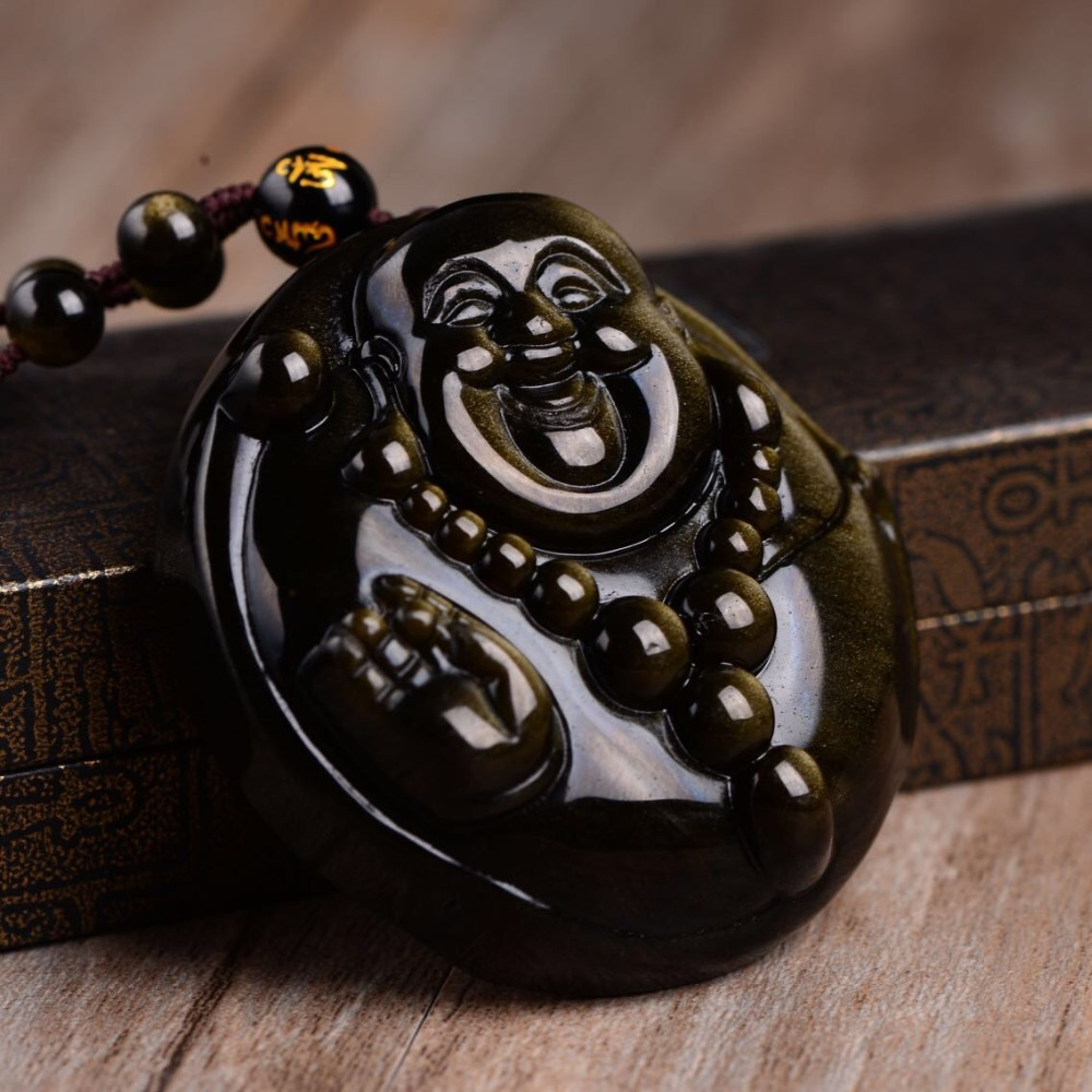 все цены на Free shipping Natural golden obsidian Buddha necklace pendant with rope wholesale