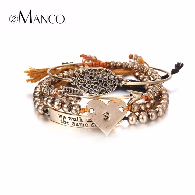eManco Stylish Simple Hollow Oval Heart Multilayers Charms Bracelets & Bangles for Women Beads Ancient Gold Plated Brand Jewelry