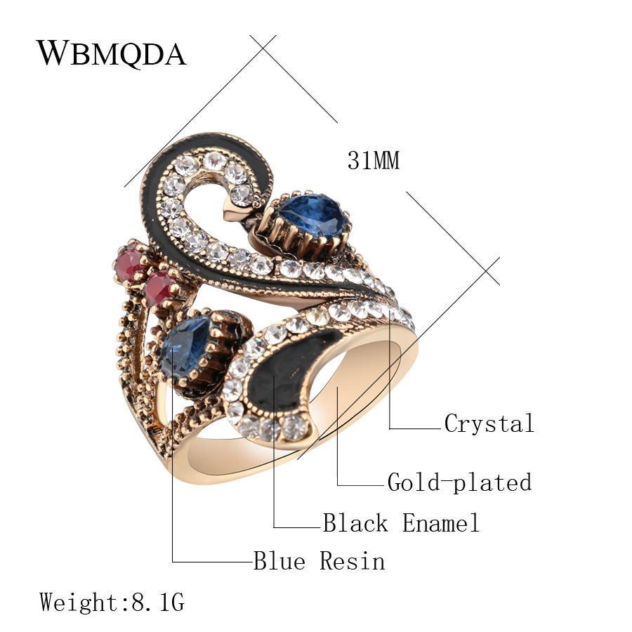Hot Vintage Antique Gold Crown Rings For Women Accessories Turkish Jewelry Trendy Fashion Colorful Resin Crystal Ring 2018