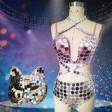 Новинка, блестящее зеркало, костюм для женщин, костюм танцора, маска с лисой, зеркальный, ds, вечерние карнавальный наряд, сценическая одежда для певиц VDB664
