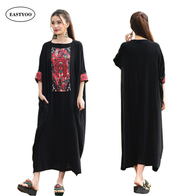 79f7bc656ea4 Noir indien dress femmes long musulmane robe coton linge maxi dress plus la  taille longue robe