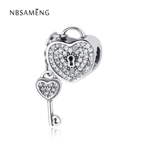 NBSAMENG Authentic 925 Sterling Silver Bead Charm Heart KEY LOCK With Crystal Pendant DIY Charms Fit Original Pandora Bracelets