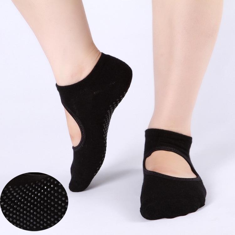 High Quality 1Pair Women Sports Fit Yoga Socks Anti Skid Breathable Fitness Pilates Socks Dancing Gym Heel Non Slip Cotton Sock