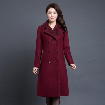 High Quality  Fashion New Autumn Winter Middle Aged Women Turn-down Collar Woolen Jacket Mother Long Coat Female Plus Size