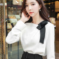 Dabuwawa New Women White Bow Elegant Shirts Ladies Casual Long Sleeve Chic Blouses Workwear Top D17DST162