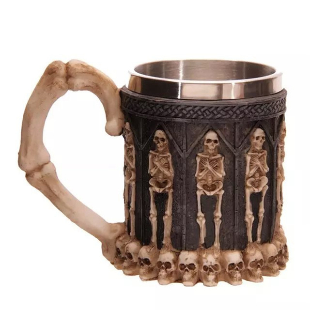Horror Crypt Tankard 3D Skull Drinking Mug Resin Stainless Steel Liner Geek Skull Cup Home Office Coffee Cup Crazy Gift With Box