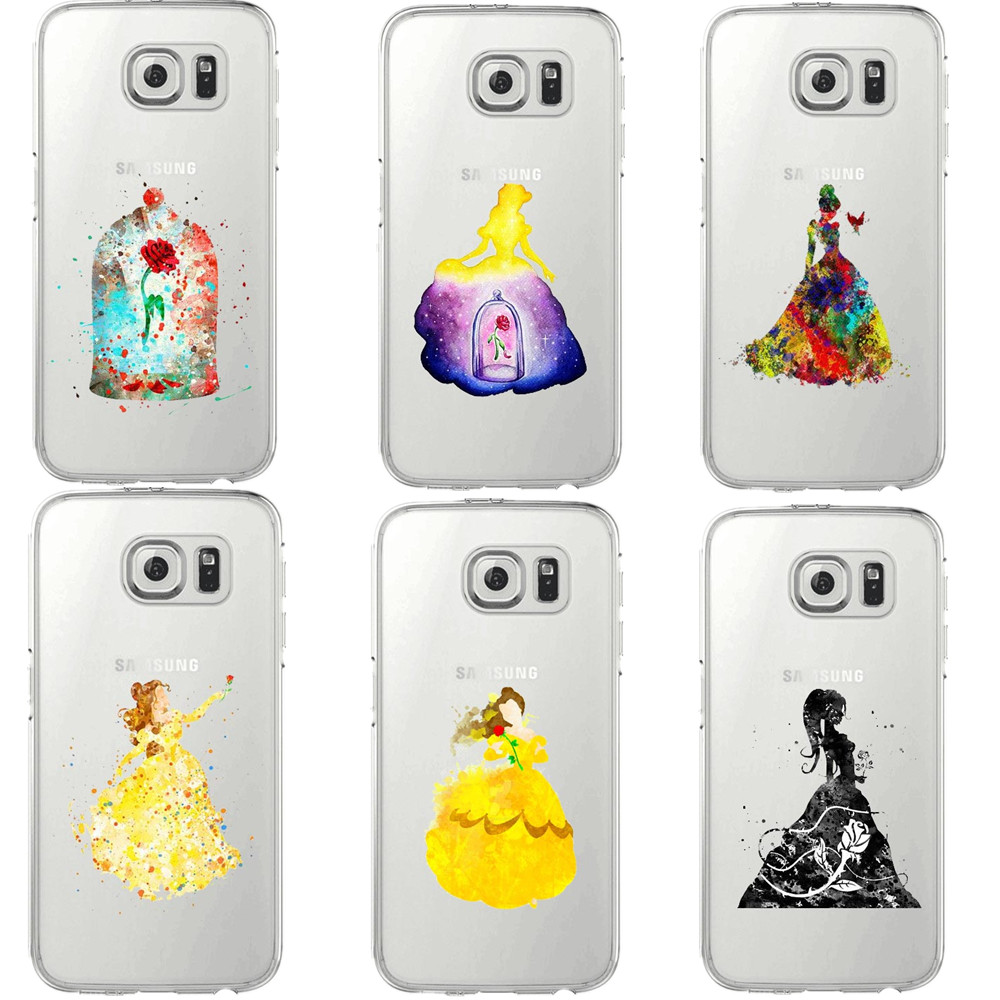 Beauty and the beast rose watercolor art print Soft TPU Phone Case For Samsung Galaxy S5 S6 Edge S7 edge Snow White Queen Cover