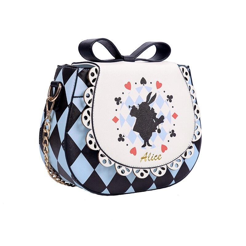Alice au pays des merveilles lapin Poker coeur Messenger sac sac à bandoulière sac à suspendre Lolita noeud papillon femmes fille dame sac à bandoulière