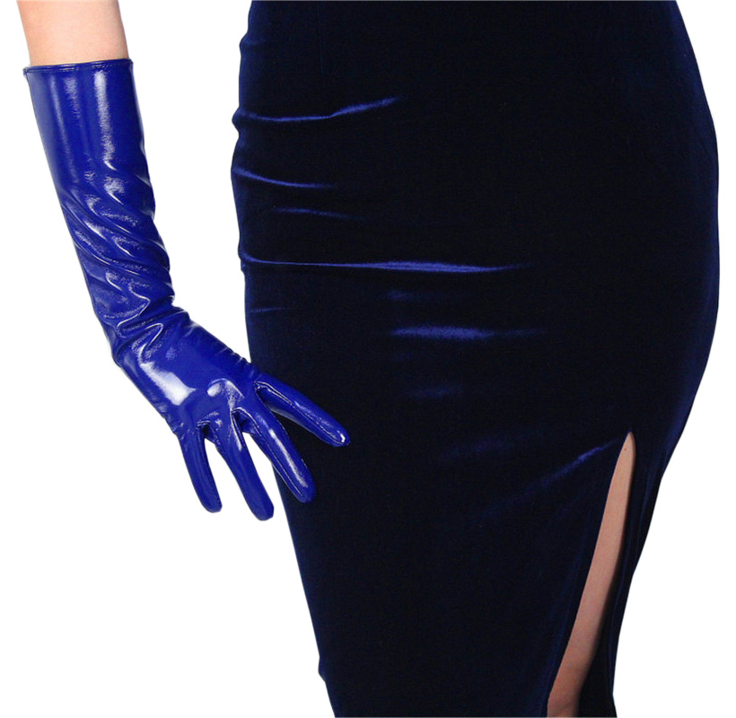 New 2019 Patent Leather Gloves Female Long PU Simulation Leather Warm Bright Leather Mirror Blue 40cm Woman's Gloves P59