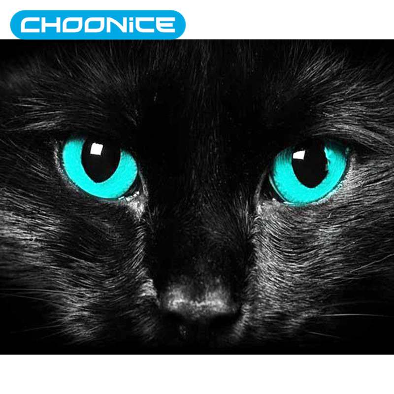 Cat Diamond Painting Blue Eyes Black Cat DIY 3D Diamond Embroidery Small Animals Cross Stitch Pokemon Paintings Mosaic
