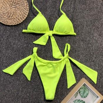 Neon Green Knotted Bikini 2019 Female Swimsuit Women Swimwear Two-pieces Bikini set Sexy Bather Halter Bathing Suit Swim Wear splicing leopard print bikini 2020 women swimwear female swimsuit two pieces bikini set knotted halter bather bathing suit swim