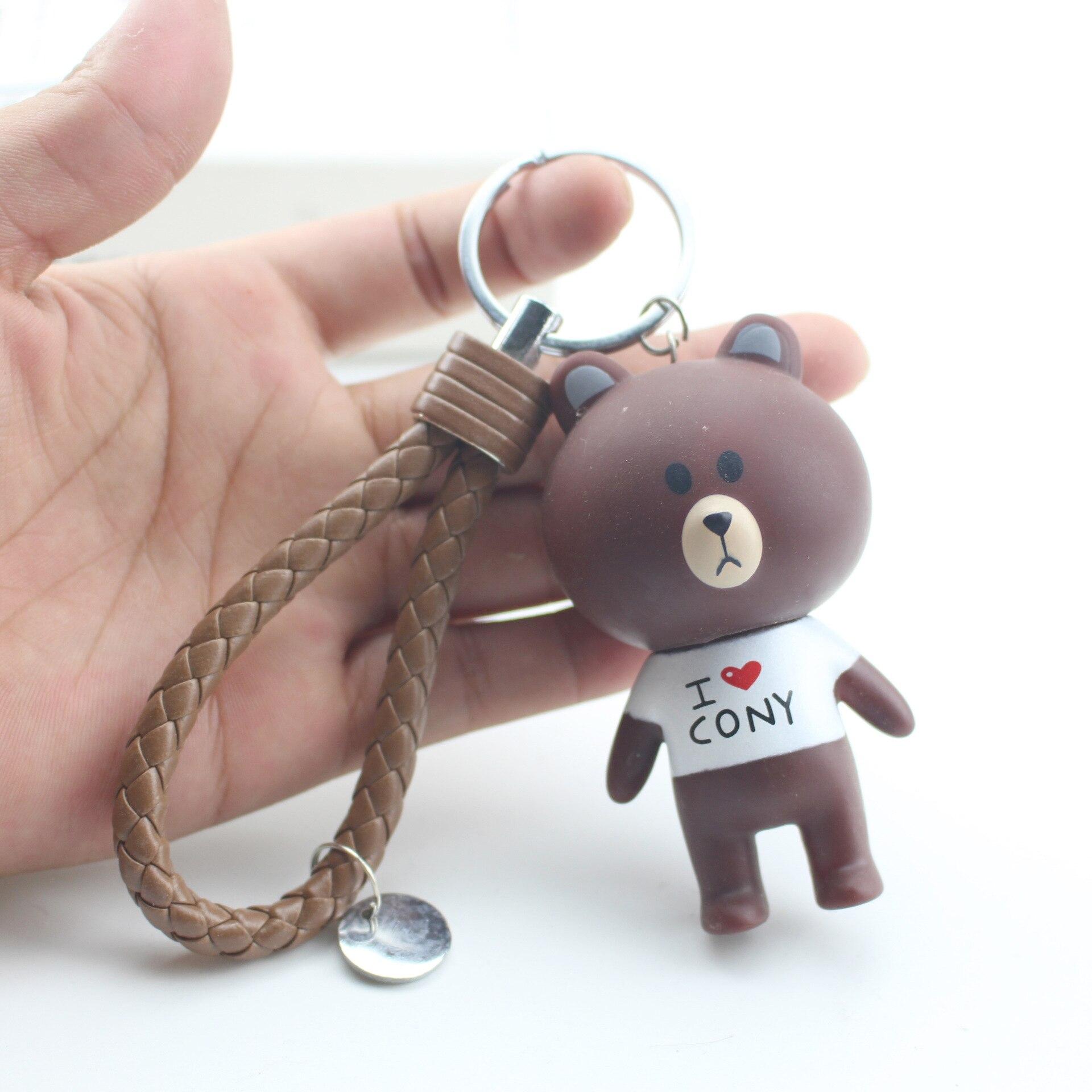 SPINNER New Cartoon Brown Bear Bell Keychain Cute Rabbit Key Ring Holder Bag Pendant Emoji For Men Women Jewelry Gift