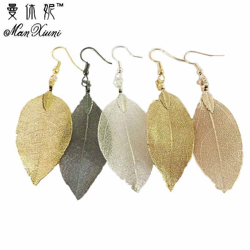 2020 Fashion Bohemian Long Earrings Unique Natural Real Leaf Big Earrings For Women  Jewelry Gift oorbellen pendientes mujer mod