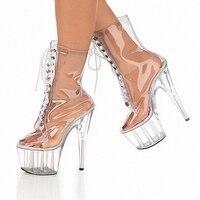 15 سنتيمتر الترا كريستال عالية الكعب الأحذية منصة أحذية مثير الأحذية الأحذية شفافة إغراء متعة 6 بوصة الكريستال