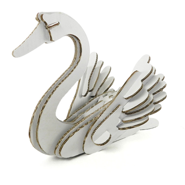 3d Puzzle Swan Paper Craft Model Kids Diy Cute Swan Decoration