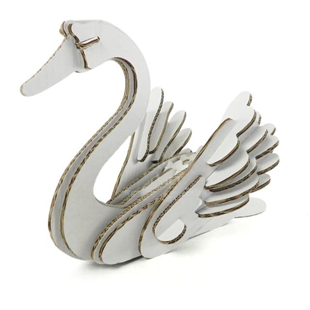 3d Puzzle Swan Paper Craft Model Kids Diy Cute Swan Decoration