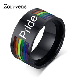 ZORCVENS Black Stainless Steel Enamel Rainbow LGBT Pride Ring For Lesbian Gay Wedding Engagement Bands 10mm Men Gifts