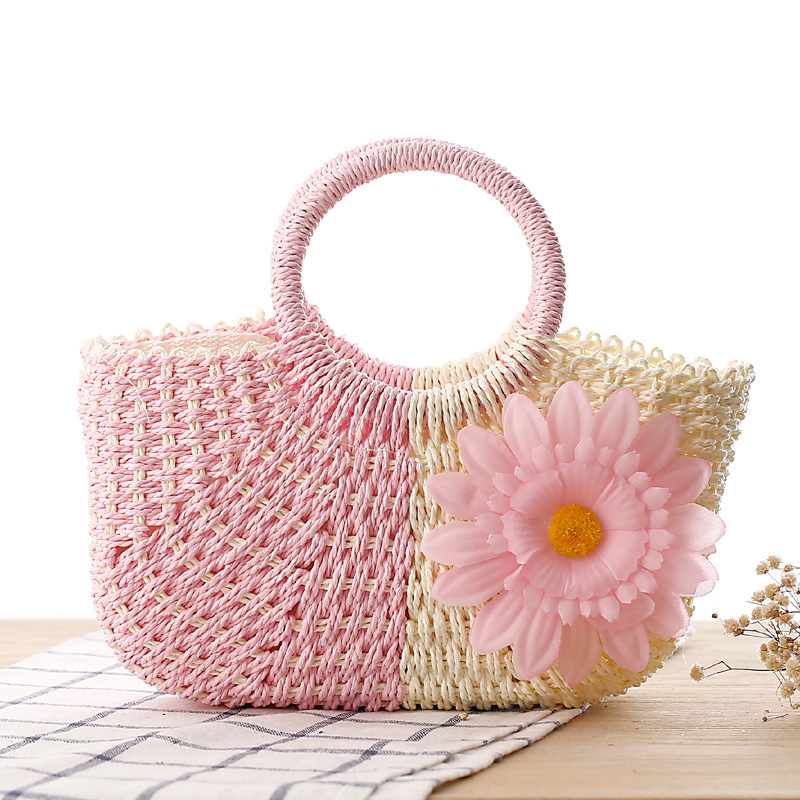2018 Summer Sun Flower Woven Bag Straw Beach Bag Handmade Tote Bag Zipper Women Shopping Bag Basket hand straw tote handbag summer sunflower woven beach bag fashion large capacity women shopping bag patchwork flower straw bags