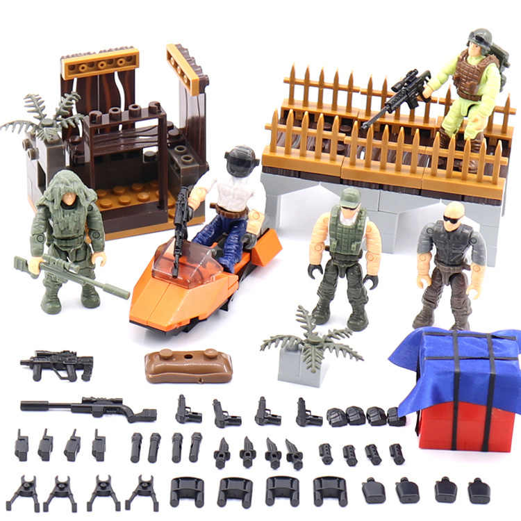 Modern military game PUBG building block army action figure PLAYERUNKNOWN BATTLEGROUNDS mega brick Ghillie suit weapon gun toys