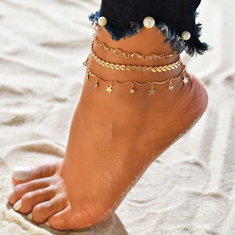 Delicate Summer Beach Women Tassel Star Pendant Layers Ankle 3 Pcs/Lot Link Chain Anklets Foot Bracelet On The Leg Jewelry