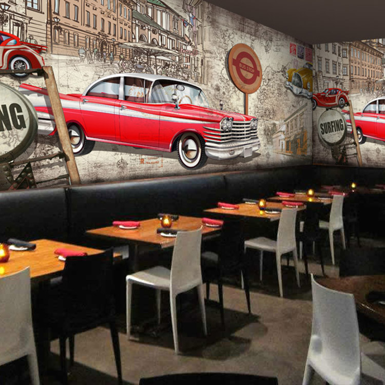Custom vintage 3d wallpaper nostalgia ktv lounge cafe for Car wallpaper mural
