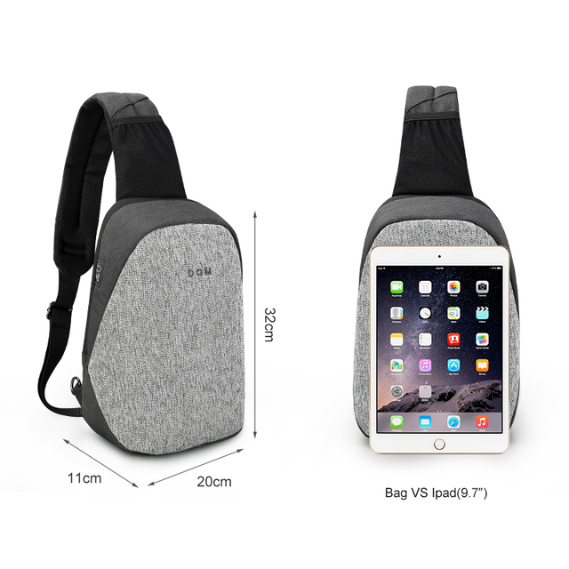 Fashion Men Male Bags Casual Splashproof Sling Bag 9.7 inch Crossbody Bags for Women Messenger Black Grey Men Shoulder Bag 2