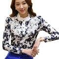Beleza Rendas Dama Da Moda Chiffon Blusas Plus Size S-3XL Manga Comprida OL Estilo do Bordado Projeto Mulheres Camisas Casuais
