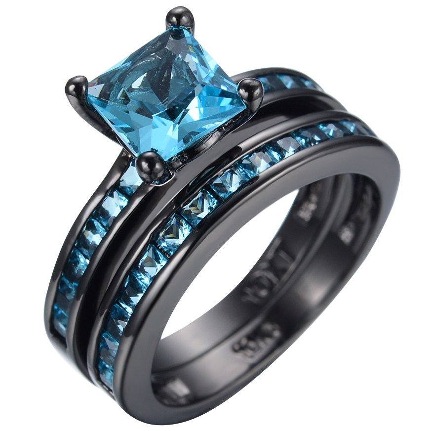 Blue Topaz Geometric Stone Engagement Ring Set Genuine Woman 10kt Black Gold Filled Eternity Wedding Bands Christmas Gift In Rings From Jewelry
