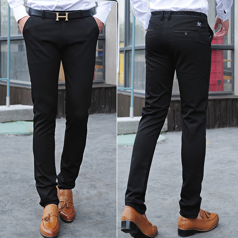 Fashion Autumn Mens Pants Solid Color Casual Skinny Slim Fit Dress