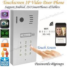 Touch Screen Keypad IP Video Intercom WiFi Wireless Video Door Phone System remote control via smartphones