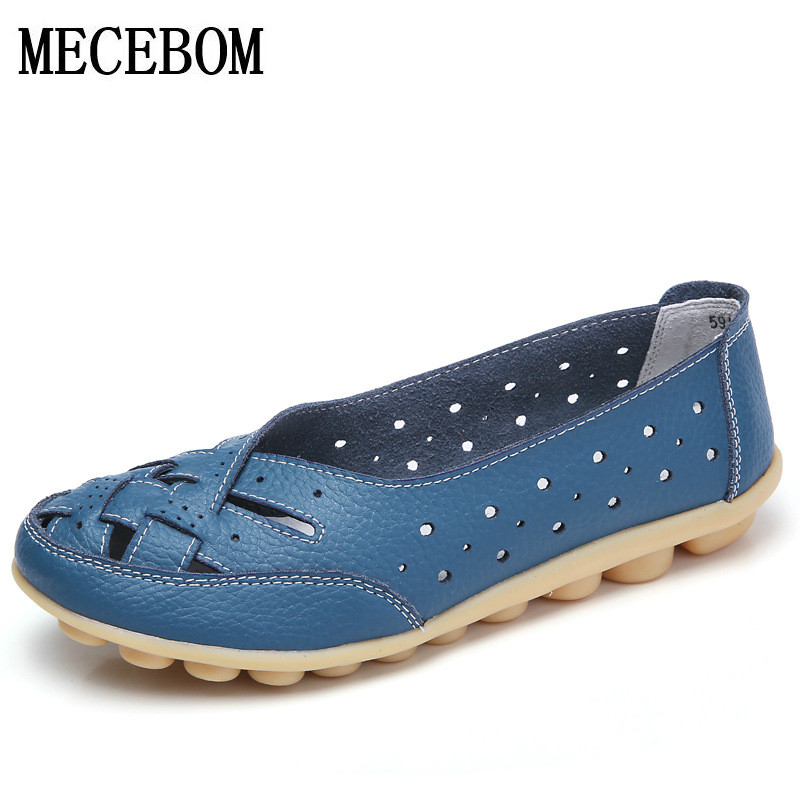 2017 Summer New Fashion Leather Women Flats Moccasins Comfortable Woman Shoes Cut-outs Leisure Flat Woman Casual Shoes 1165W new fashion 2016 summer korean style woman flats cut outs breathable bowtie flat single shoes sweet concise casual flats st385