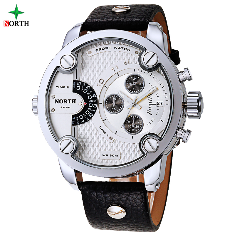 Men Sports Watches 2016 Stainless Steel Genuine Leather Band 30 Meters Waterproof Quartz Wristwatch Male Relogio Masculino