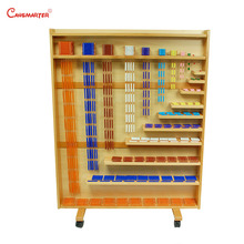 Montessori Math Set of Beads and Cabinet Math Toys Beads Shelf Montessori Materials Educational Beech Wood Toys Teaching MA139-1 montessori materials blanket three colour three size math toys early educational toys can smarter free shipping
