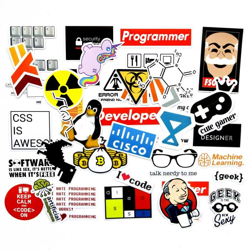 40 Pieces/set SQL Programming Geek Hacker Bitcoin developer Language APP Logo Funny Laptop Phone waterproof Stickers