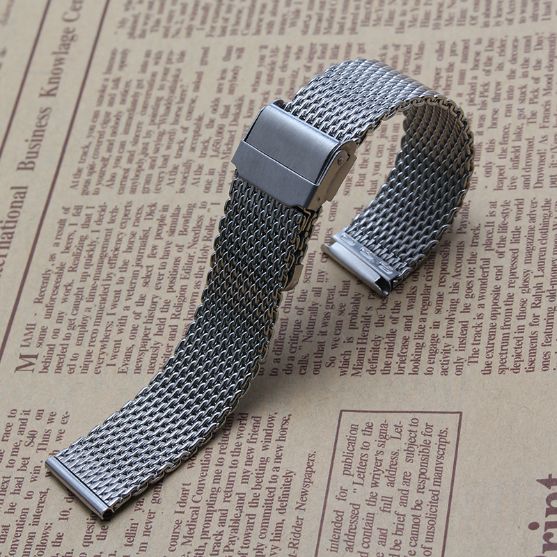 with Insurance button straps 20mm 22mm New Mens high quality stainless steel SHARK mesh bracelet Diving Replacement Watchband alu new folding billet adjustable brake clutch levers for suzuki gsxr 600 750 1000 gsxr600 gsxr750 gsxr1000 09 10 11 12 13 14 15