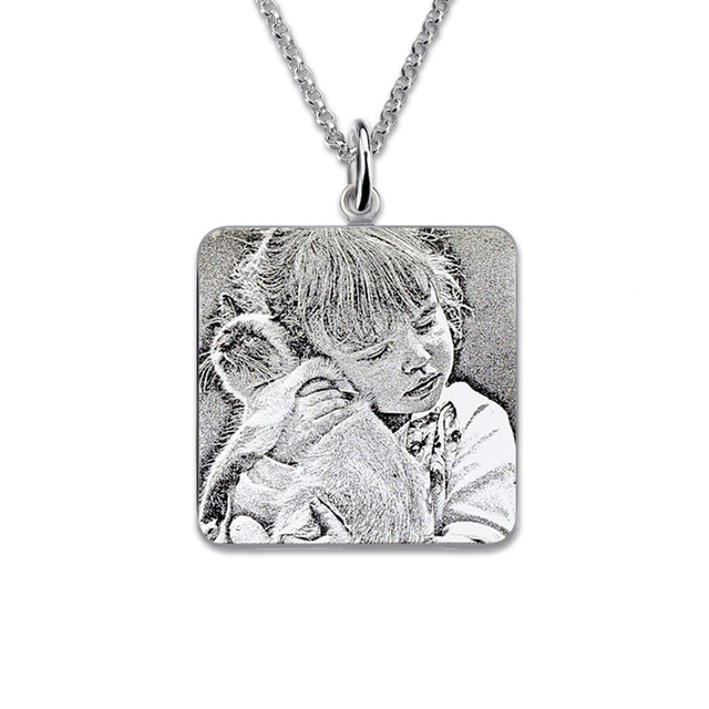 Wholesale square photo engraved necklace sterling silver picture wholesale square photo engraved necklace sterling silver picture necklace portrait pendant custom photo engraving memorial gift aloadofball Choice Image