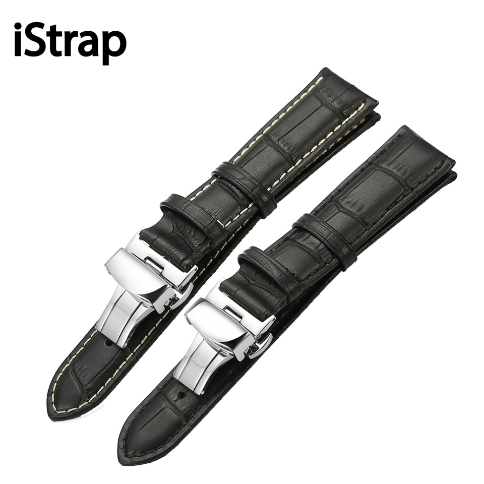 iStrap Calf Leather Watch Band Strap Stainless Steel Butterfly Clasp 12mm 13mm 14mm 16mm 18mm 19mm 20m 21mm 22mm 24mm Watchband defender butterfly 13 14 1