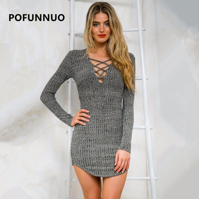 Pofunuo 2017 Frauen Herbst Winter Kleid Sexy V ausschnitt Langarm ...