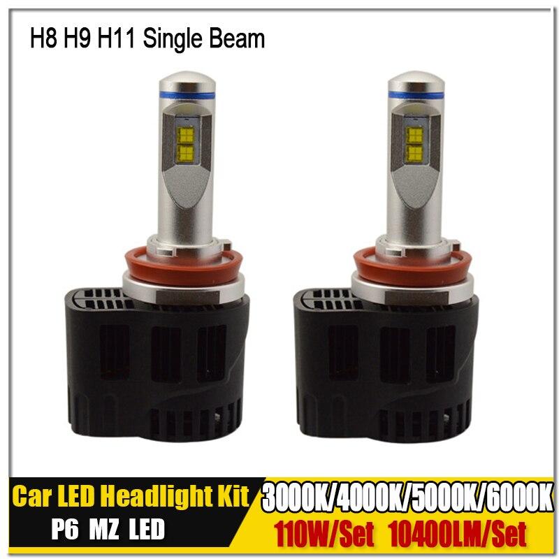 где купить H8 H9 H11 3000K 4000K 5000K 6000K Canbus P6 LumiLEDs LMZ Canbus 110W 10400LM Car LED Bulb Headlight Fog Light Conversion Kit по лучшей цене