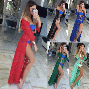4ce69fbbf Saida De Praia 2018 Playa Pareo Playa cubierta Vestido Livre traje De baño  ropa De baño De encaje De las mujeres suelta túnicas