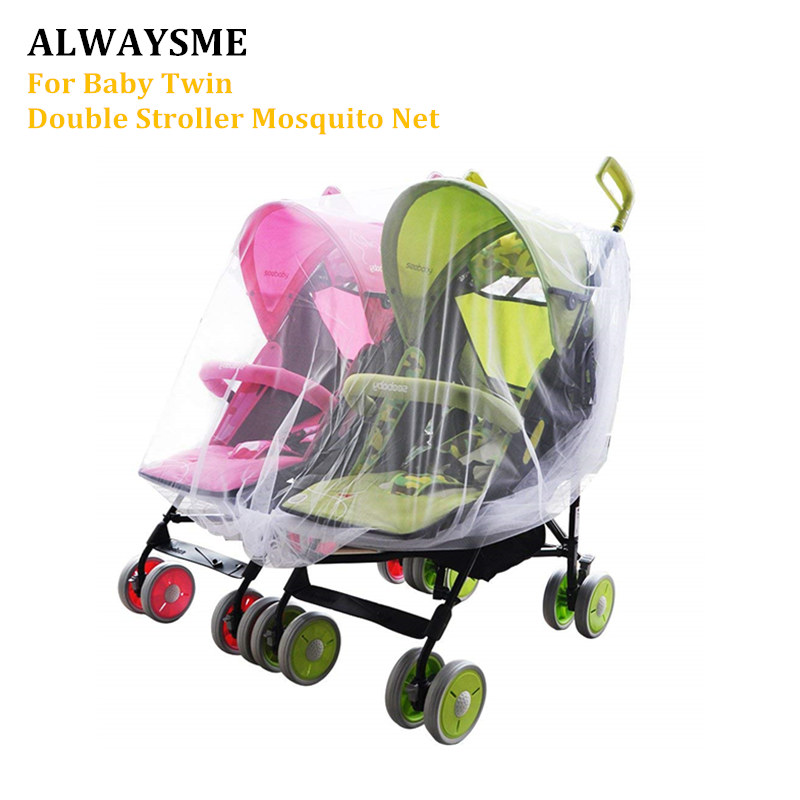 ALWAYSME Baby Twin Double Strollers Buggy Mosquito Net Cover Universal Fits Double Carriers Car