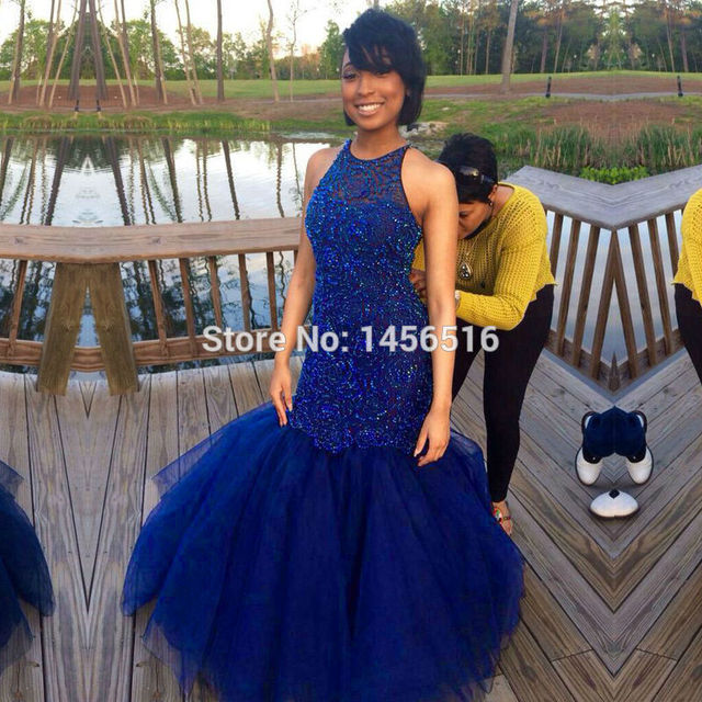 c49103e6f8e93 Elegant Royal blue Beading Long Mermaid Prom Dresses 2017 Formal Tulle Sexy  Cheap Evening Gowns Party