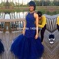 Elegant Royal blue Rebordear Tulle Largas Sirena Vestidos de Baile 2017 Formal Atractivo Barato Vestidos de Noche Vestido de Fiesta vestidos de fiesta