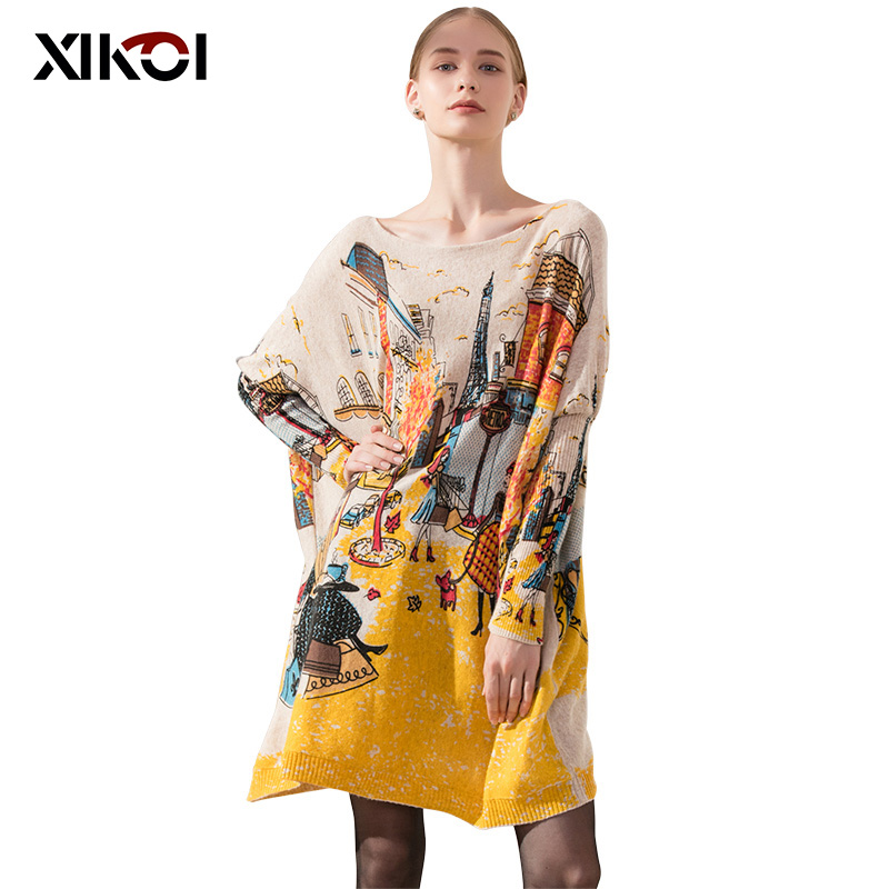 XIKOI Oversize Casual Women Sweater Lang Batwing Sleeve Løse Pullovers Women's Colors Print Klær Mote Fri Størrelse 2019